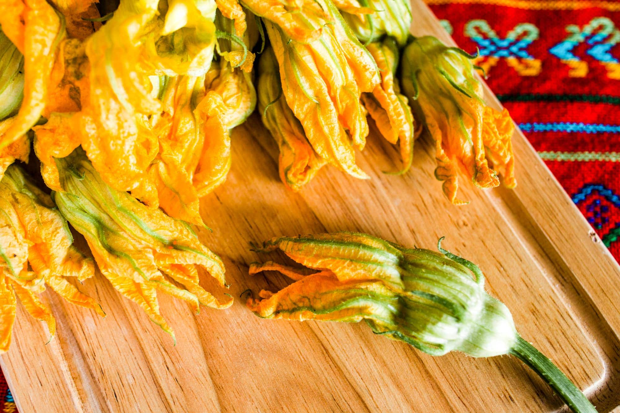 Zucchini flowers on table